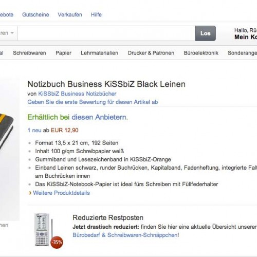 Amazon KiSSbiZ-Notizbuch-Shop